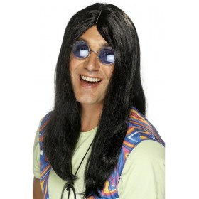 Black Neil Hippy Wig - Fancy Dress Mens (1960S)