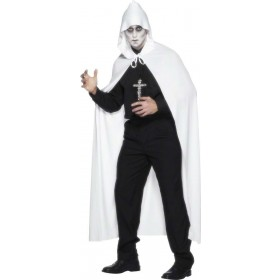 Cape White With Hood - Fancy Dress (Halloween)