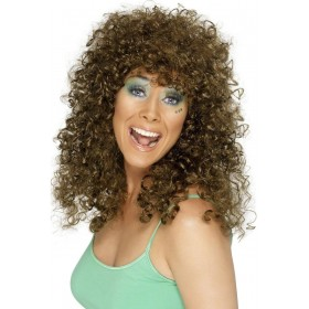 Boogie Babe Wig - Fancy Dress Ladies (1980S) - Brown