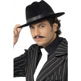 Gangster Hat Black Velour - Fancy Dress Mens (1920S)