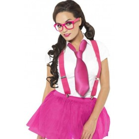 Ladies Pink Glam Geek Kit Fancy Dress Costume