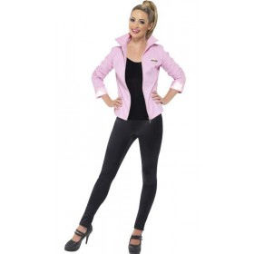 Ladies Deluxe Pink Grease Jacket Fancy Dress Costume