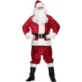 Plush Santa Suit Fancy Dress Costume Mens (Christmas)