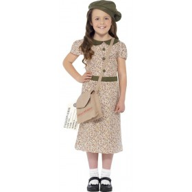 Girls WW2 Evacuee Fancy Dress Costume