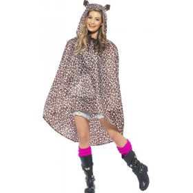 Adult Unisex Leopard Party/Festival Poncho Fancy Dress Costume