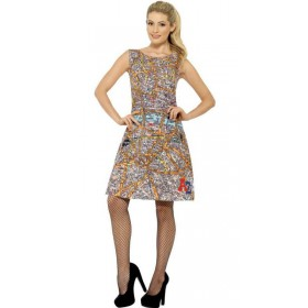 Ladies A-Z London Map Patterned Fancy Dress Costume