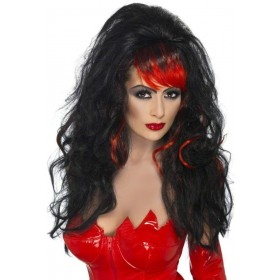 Seductress Wig Fancy Dress Ladies - Black/Red