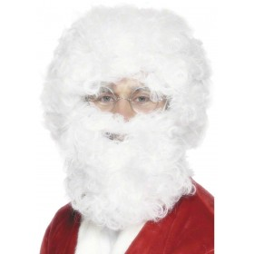 Santa Beard And Wig Set - Fancy Dress Mens (Christmas) - White