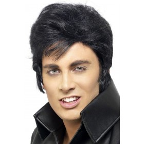 Elvis Wig - Fancy Dress Mens (Music) - Black