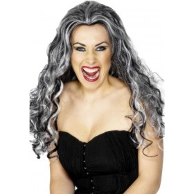 Renaissance Vamp Wig - Fancy Dress Ladies (Halloween) - Black