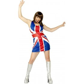 Union Jack Dress Fancy Dress Costume Ladies (Music)
