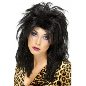 80S Popstar Wig - Fancy Dress Ladies (1980S) - Black