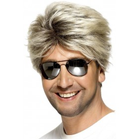 80S Street Wig - Fancy Dress Mens (1980S) - Black