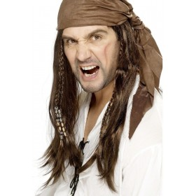 Buccaneer Pirate Wig - Fancy Dress (Pirates) - Brown