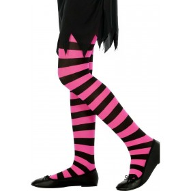 Tights Black And Fuchsia Striped - Fancy Dress Age 8-12