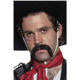 Authentic Mexican Handlebar Moustache, Fancy Dress Mens