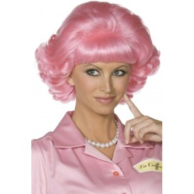 Frenchy Wig - Fancy Dress Ladies (Film) - Pink