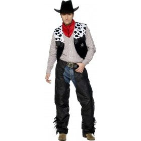 Cowboy Leather Fancy Dress Costume Mens (Cowboys/Indians)