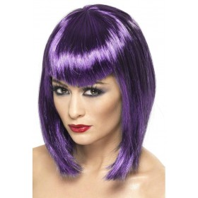 Vamp Wig - Fancy Dress Ladies (Halloween) - Purple