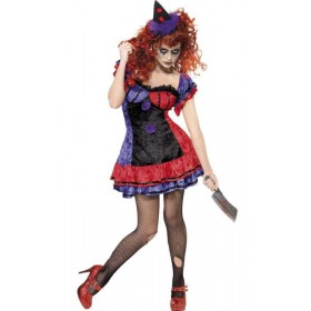 Ladies Sinister Bo Bo The Clown Halloween Fancy Dress Costume