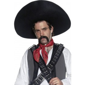 Authentic Mexican Bandit Sombrero - Fancy Dress Mens (Cowboys/Native Americans)