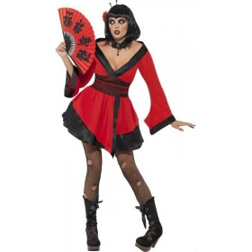 Gothic Geisha Woman Fancy Dress Costume