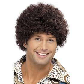 70S Disco Dude Wig - Fancy Dress Mens (1970S) - Brown