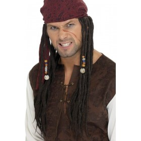 Captain Pirate Wig - Fancy Dress Mens (Pirates) - Black