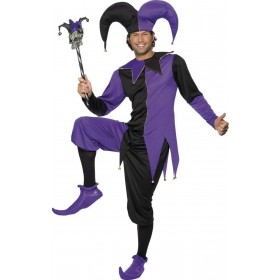 Medieval Jester Fancy Dress Costume Mens Size 38-40 S (Medieval)