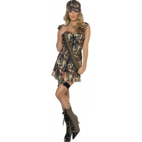 Fever Army Girl Fancy Dress Costume Ladies (Army)