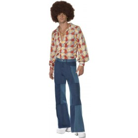 Mens Patchwork Flares Fancy Dress Mens Size 42-44 L