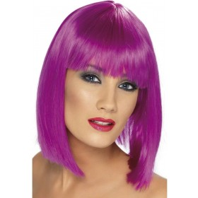 Glam Wig - Fancy Dress Ladies - Neon Purple