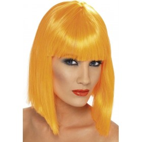 Glam Wig - Fancy Dress Ladies - Neon Orange