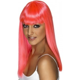 Glamourama Wig - Fancy Dress Ladies - Neon Pink