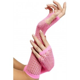 Fishnet Gloves Pink - Fancy Dress Ladies