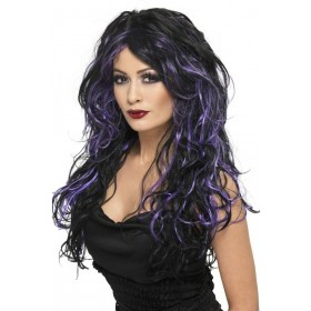 Gothic Bride Wig - Fancy Dress Ladies (Halloween) - Black