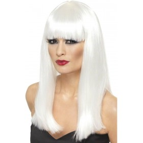 Ladies White Long With Fringe Glamourama Wig