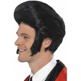 50'S Quiff Wig Fancy Dress Mens - Black