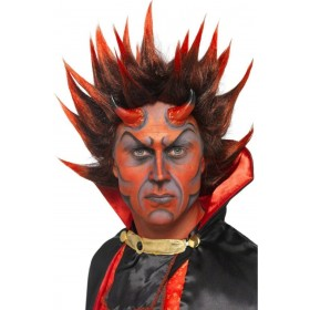 Devil Punky Wig Fancy Dress (Halloween) - Red