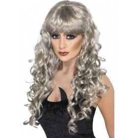 Siren Wig Fancy Dress Ladies - Grey