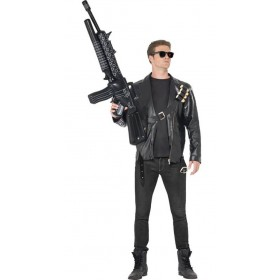 Mens Black Terminator Fancy Dress Costume