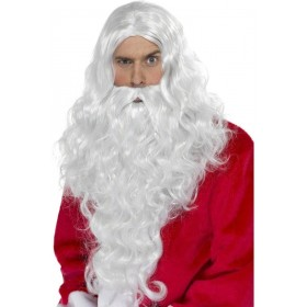 Santa Long Wig - Fancy Dress Mens (Christmas) - White