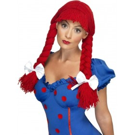Rag Doll Wig Fancy Dress Ladies - Red