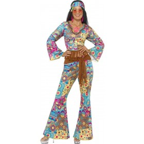 Hippy Flower Power Fancy Dress Costume Ladies (1960S)