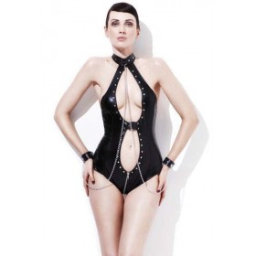 Ladies Black Sexy Mistress Bodysuit Fancy Dress Costume