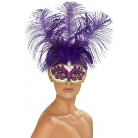 Purple Can Can Beauty Eyemask With Feather Fancy Dress