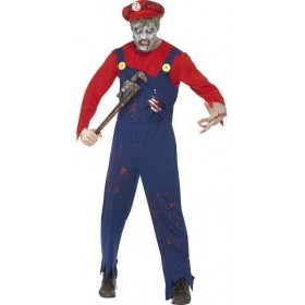 Mens Red Zombie Plumber  (Fancy Dress Costume)