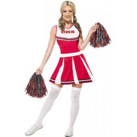 Ladies Red College Highschool Cheerleader Fancy Dress Costume