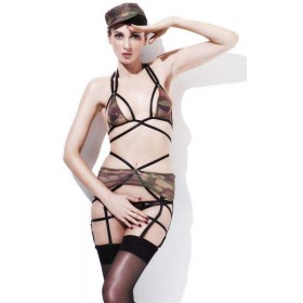 Ladies Sexy Camo Army Private Fancy Dress Costume