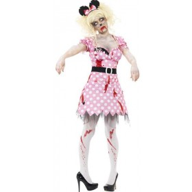 Ladies Pink Zombie Rodent  (Fancy Dress Costume)
